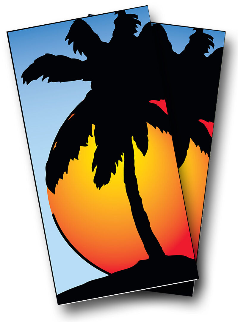SUNSET Palm Tree CORNHOLE WRAP SET High Quality Vinyl Board DECAL w  Squeegee