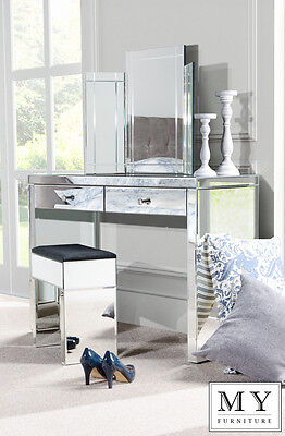 Venetian Mirrored Dressing Table /Console + Triple folding dressing table mirror