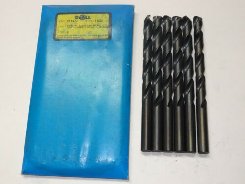 "black oxide 6 new GREENFIELD 11//32/"" Heavy-Duty 135SP Jobber Length Twist Drills"