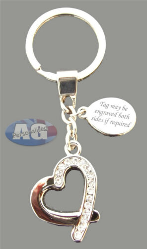 Crystal Keyring Engraved Free Personalised Silver Beating Heart