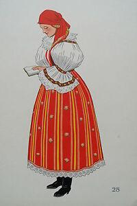 -2-5-28 Gravure Costume De Jeune Paysanne De Veselany Tchécoslovaquie Pour Convenir à La Commodité Des Gens