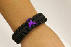Paracause-Awareness-Ribbon-Paracord-Survival-Bracelet-Black-Purple
