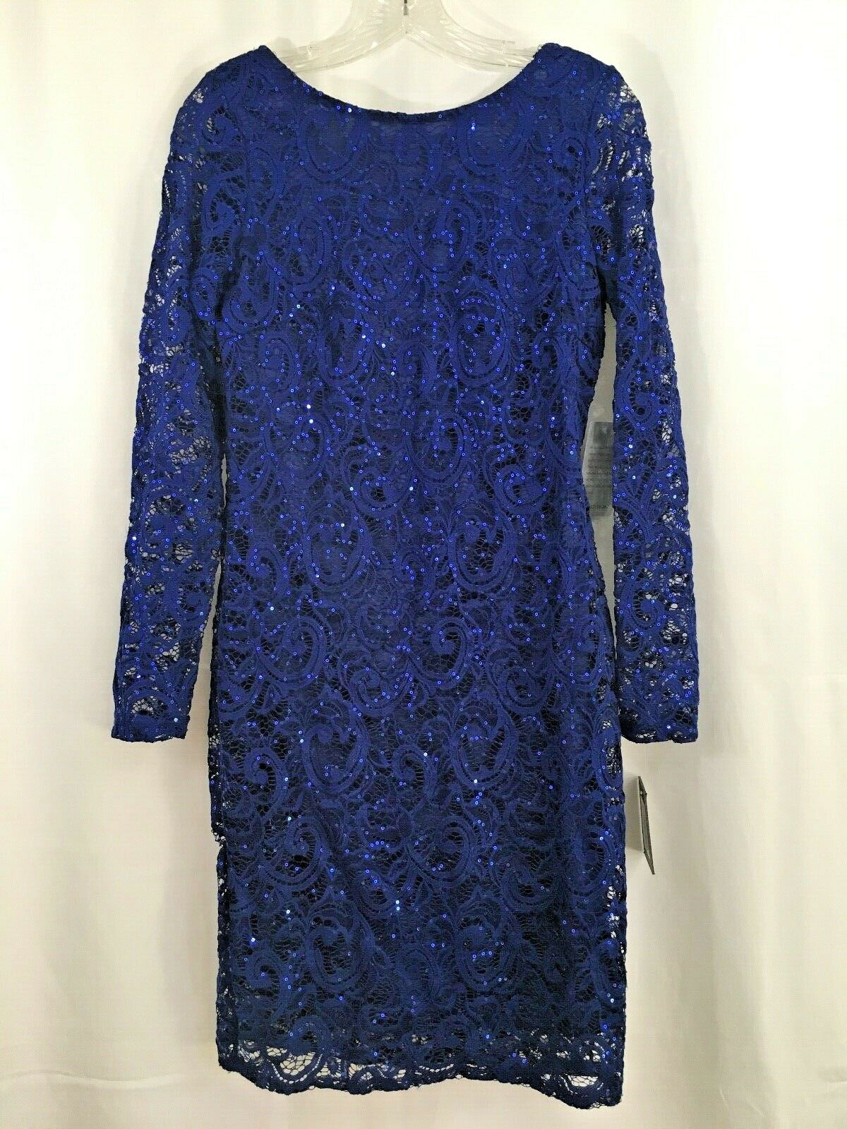 NWT Marina Woherren Long-Sleeve Cobalt Blau Lace Sequin Dress Low Back Größe 6