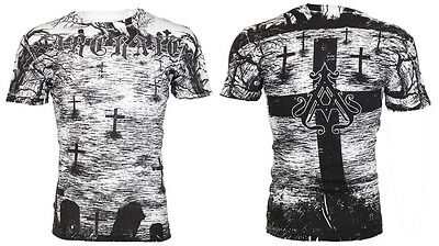 Archaic AFFLICTION Mens T-Shirt CRYPT KEEPER Cross Tattoo Biker UFC M-3XL $40 c