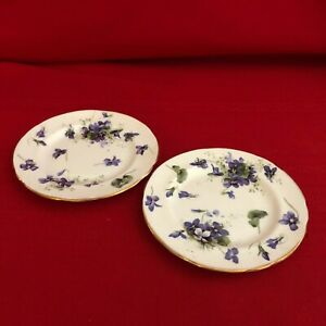 Two-Hammersley-amp-Co-4-7-8-034-Dessert-Plates-with-Violets-Stoke-On-Kent