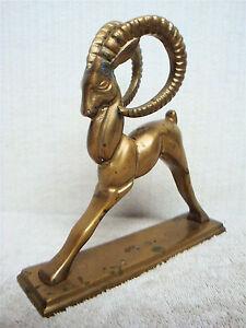 GATCO-Vintage-Art-Nouveau-Solid-Brass-Big-Horn-Sheep-Ram-Mouflon-Art-Sculpture