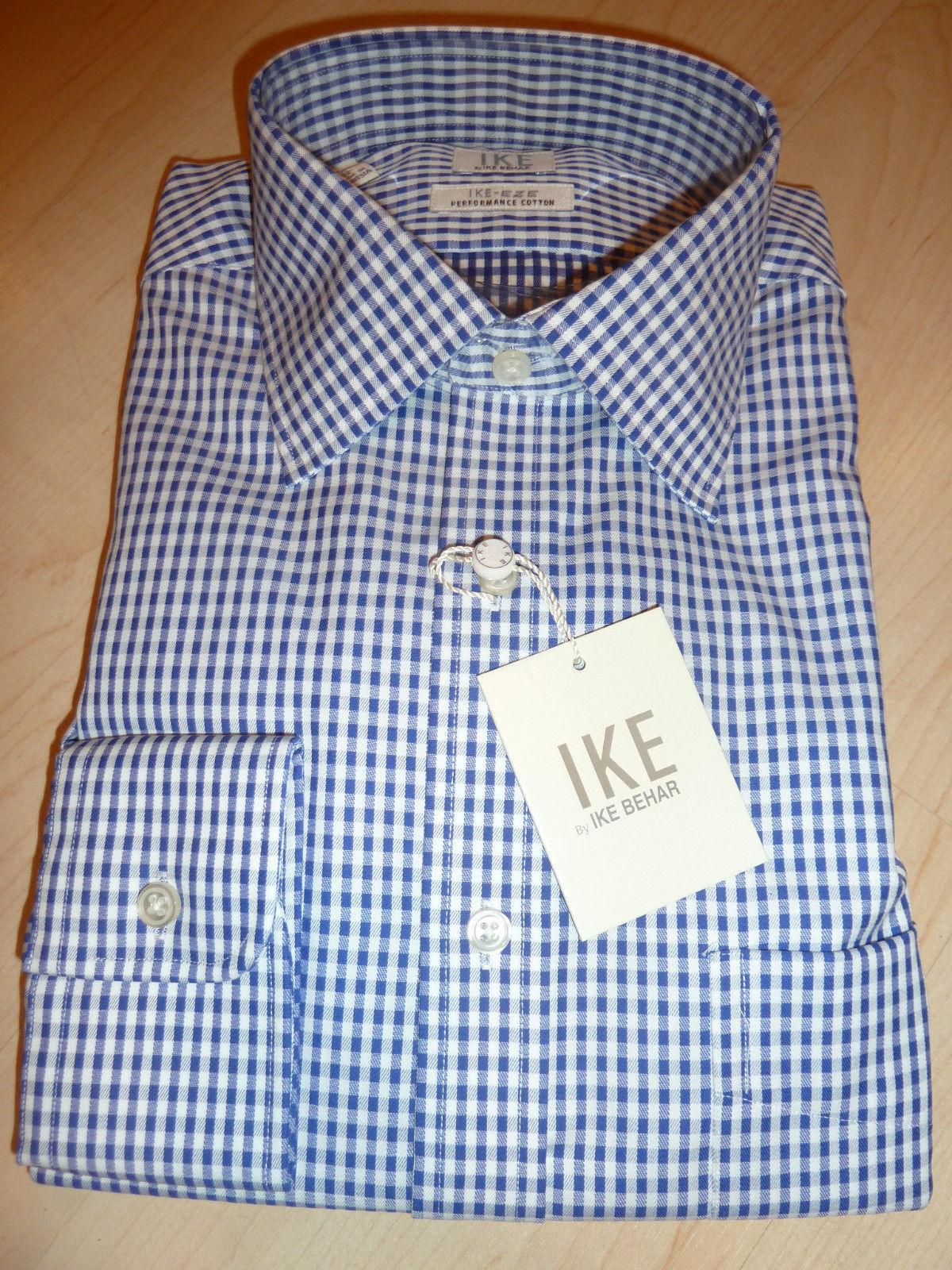 NEW 190 IKE BEHAR  Herren SHIRT Sz 15.5 34 EZE Non-Iron Performance Cotton Blau BC