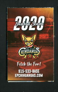 El Paso Chihuahuas--2020 Pocket Schedule--Padres Affiliate