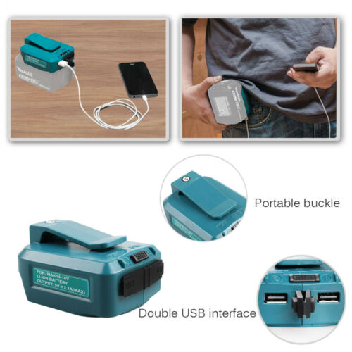 Dual USB Battery Charger Adapter for Makita ADP05 LXT 14V to 18V Li-ion Battery