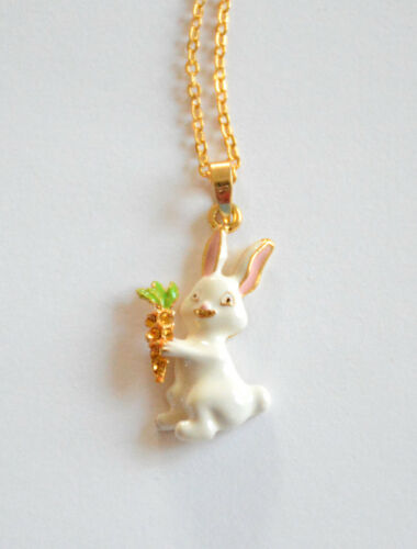 """18/"""" Gold-tone Chain Easter Bunny Pendent Necklaces Easter Rabbit 5 Choices"""