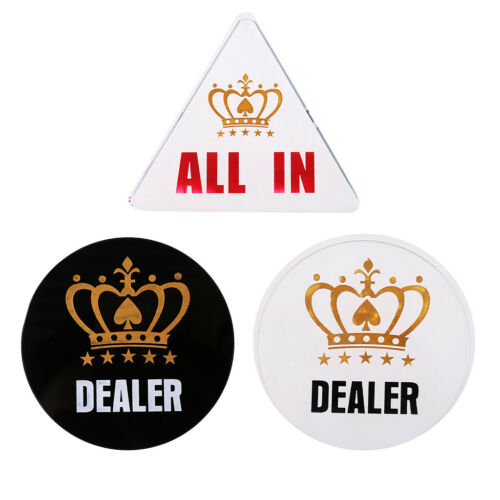 1x Acrylic Round Dealer Button Chip Pressing Texas Hold/'em Poker Guard Coin