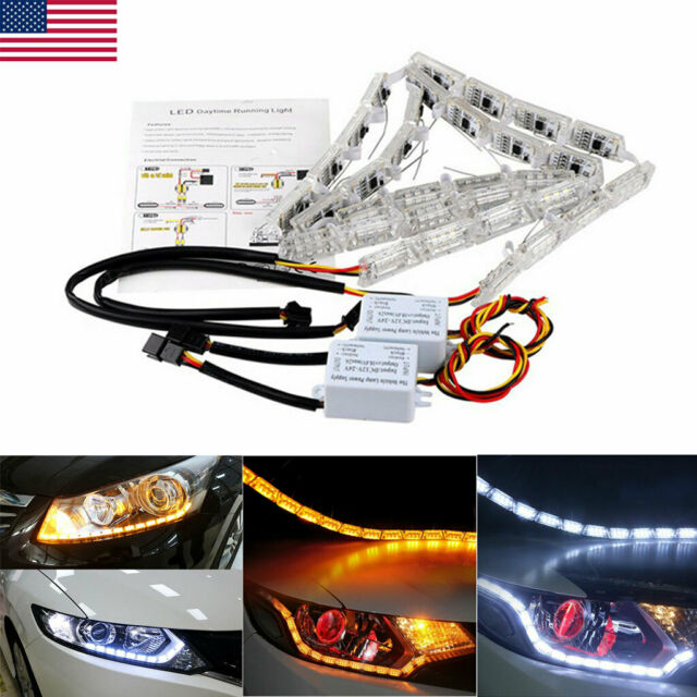 2x Switchback Dynamic Car Drl Led Strip Light Sequential