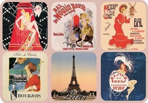 Set of 6 New Cork Back Coasters Paris Scenes Moulin Rouge Eiffel Tower Casino