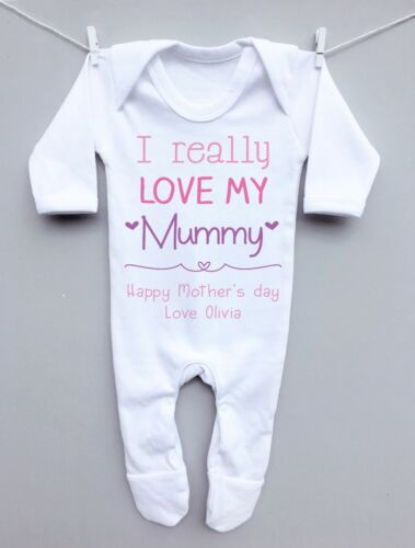Personalised baby sleepsuit romper suit grow 1st Mothers Day really love Mummy