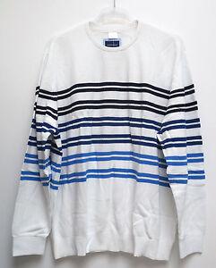 Nuevo-Talla-Especial-Super-Elegante-Hombre-Rayas-Pulover-Tejido-Blanco-Azul