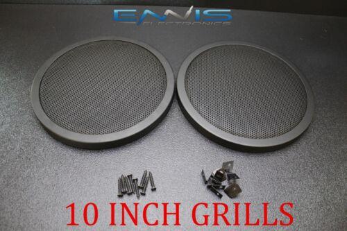 2 10 INCH STEEL SPEAKER SUB SUBWOOFER GRILL FINE MESH W// CLIPS SCREWS GT-10