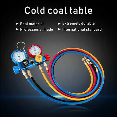 Adjustable Couplers and Can Tap Fits R134A R410A and R22 Refrigerants with 5FT Hose Ship from USA 3 Acme Tank Adapters 4 Way AC Manifold Gauge Set for Freon Charging and Vacuum Pump Evacuation