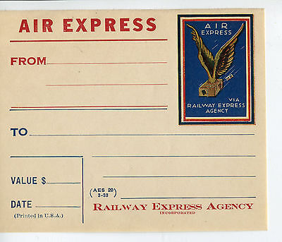 vintage Airline Luggage Label AIR EXPRESS RAILWAY EXPRESS name label 1933 #DJ
