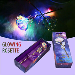24K Gold Foil Galaxy Rose Flower Luminous Galaxy Valentine/'s Day Gift with Box