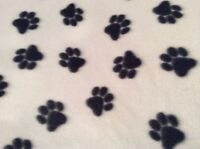 Black Dog Paw Prints With White Background Fleece Fabric, 60w, Sold Bty