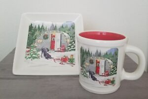 NEW-MAGENTA-CHRISTMAS-TREE-WREATH-RED-TRAVELCAMPER-PUPPY-HOLIDAY-MUG-amp-PLATE-SET