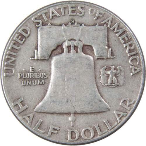 1951 S 50c Franklin Silver Half Dollar US Coin F Fine