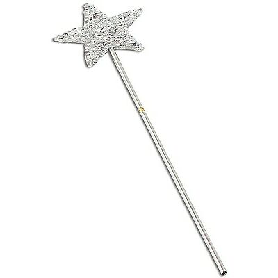 Girls Silver Sequinned Star Fairy Princess Wand Fancy Dress Costume Accessory