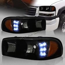 For 1999-2006 GMC Sierra 1500 2500 LED Smoke Lens Headlights W/Amber Reflector