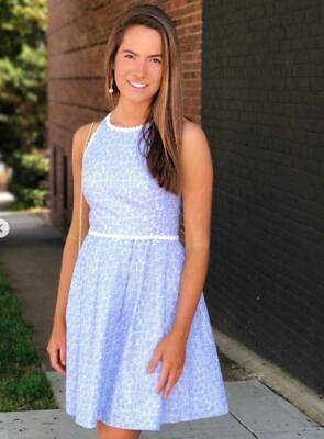 NEW Lilly Pulitzer TORI DRESS Crew Blue Tint Yarn Dye Stripe Floral Eyelet SZ 2