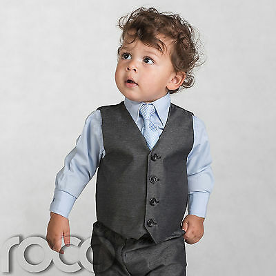 Logical Boys Grey Waistcoat Suit, Baby Boys Charcoal Suits, Boys Wedding Suits, Page Boy