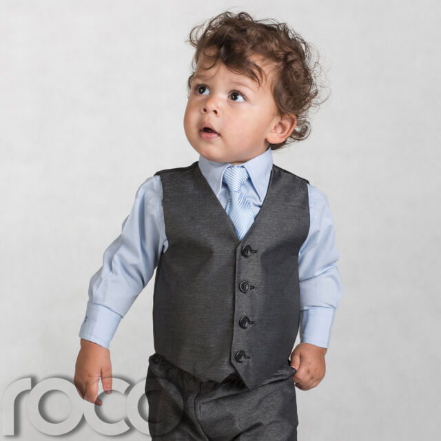 Boys Grey Waistcoat Suit, Baby Boys Charcoal Suits, Boys Wedding Suits, Page Boy