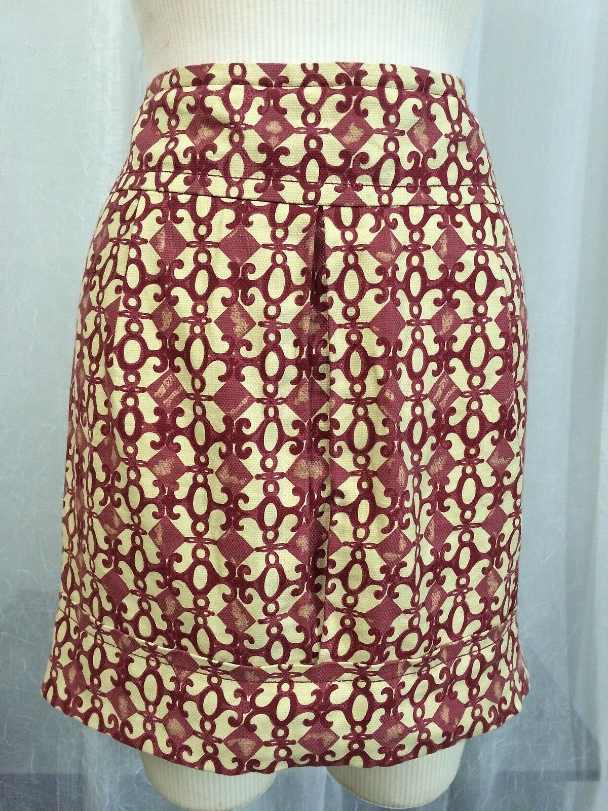 Tracy Reese NY Women's Skirt Burgundy Print Linen Blend Lined Skirt Size 6