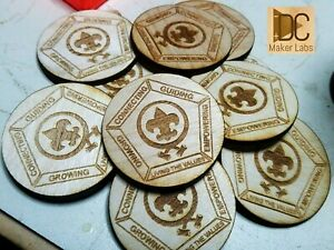 25x Custom Wooden Boy Scouts Wood Badge Coins Personalized Tokens