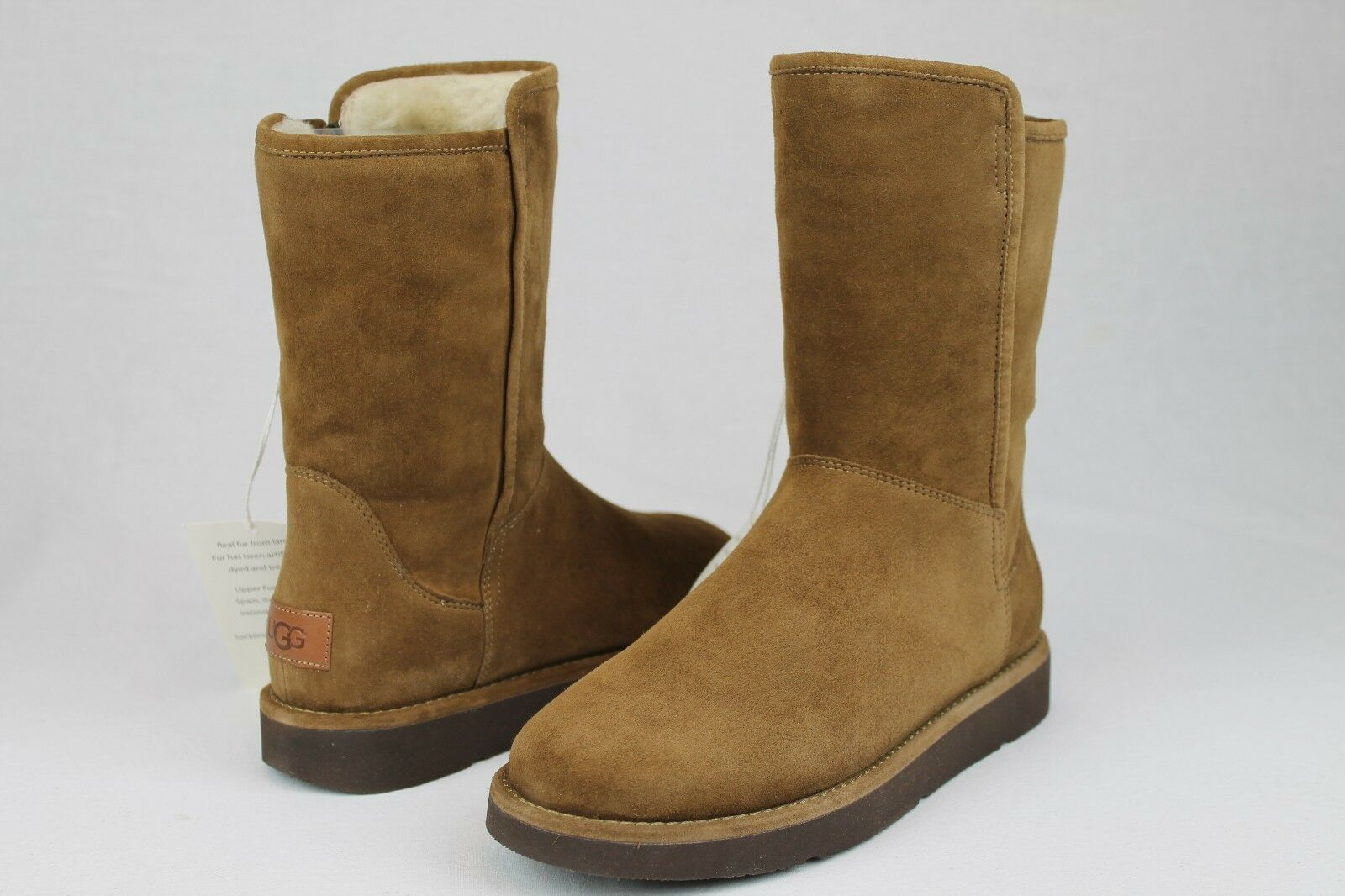 a098cbd037c UGG Collection Abree Short Bruno Suede Sheepskin BOOTS Womens Size 10 US