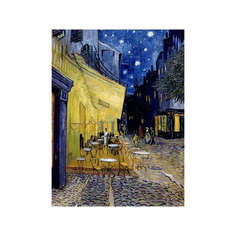 Quadro su Pannello in Legno MDF Vincent Cafe Van Gogh Cafe Vincent Terrace at Night 26d3dc