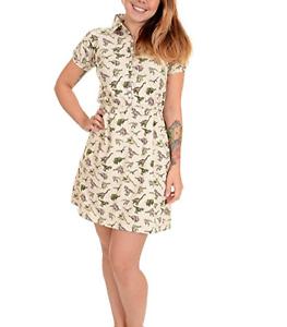 Run-amp-Fly-Mujer-Estilo-Vintage-Crema-Camiseta-Vestido-con-Todo-Dinosaurio