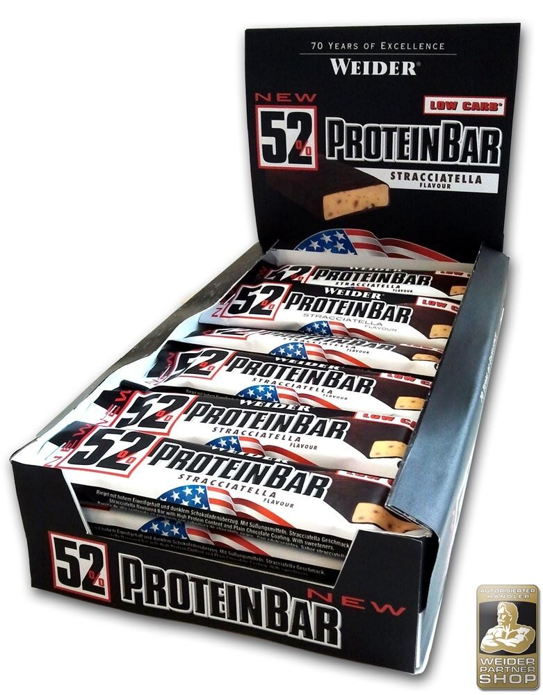 Weider 52% Protein Bar Box Box Box with 24 seal 50 g (pro 1000 g) 44b6f0