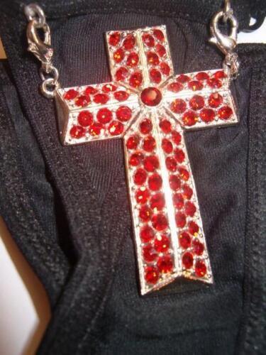 rosso W Mutandine strass o francesi nero cristalli enormi croce H6xYFYqw
