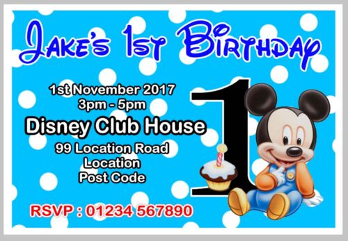 PERSONALISED MICKEY MOUSE BIRTHDAY PARTY INVITE//INVITES//INVITATION CARDS