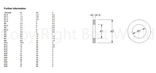 Arandela Plana De Acero Inoxidable A2 para tornillos métricos y Tornillos Arandelas DIN 125A