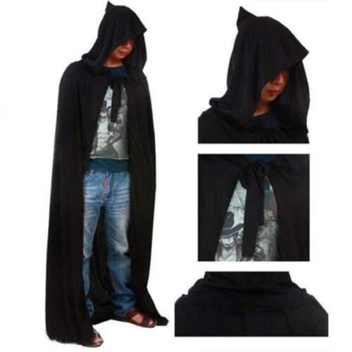 Halloween Costume Devil Long Tippet Cape Theater Prop Death Hoody Cloak Black LH