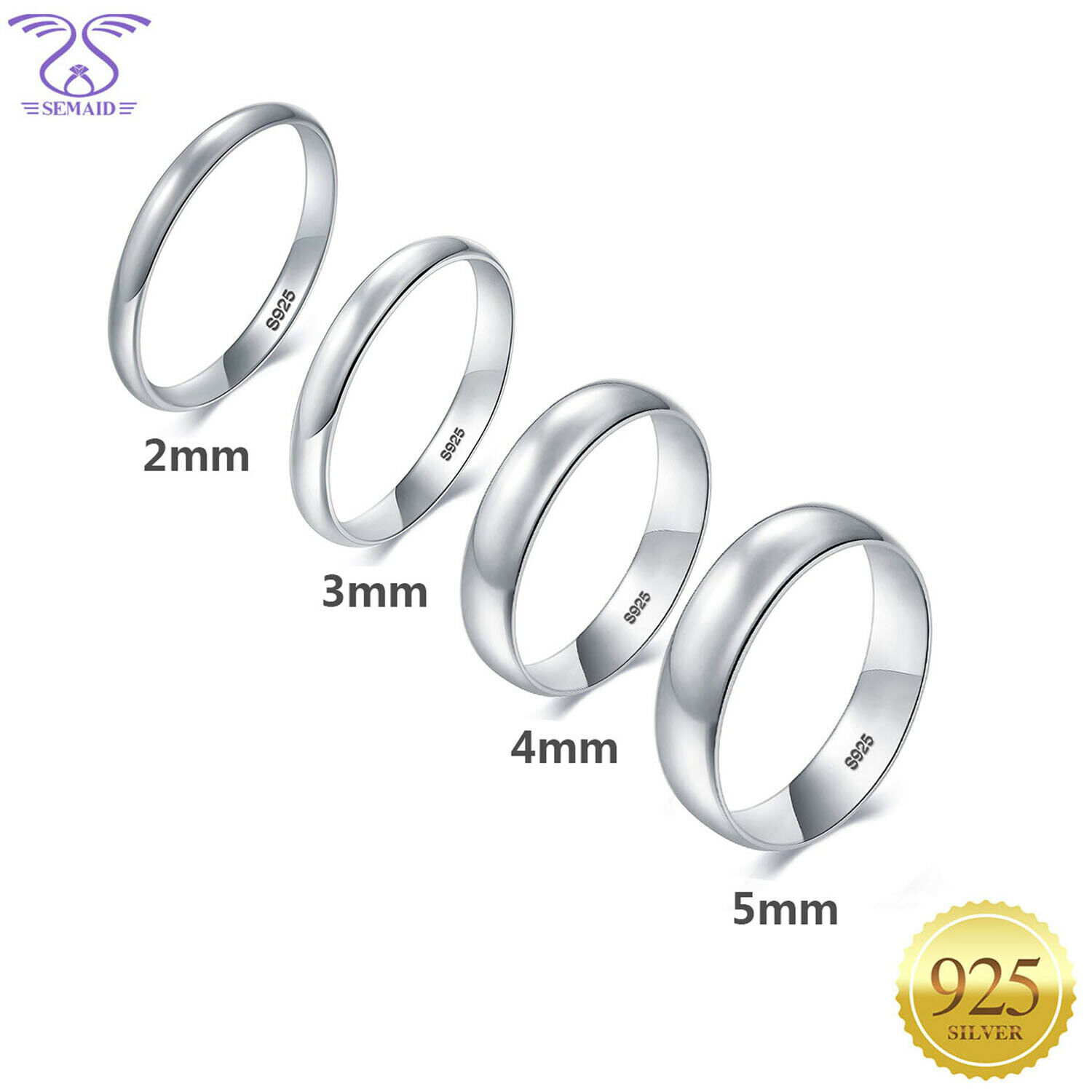 Solid 925 Sterling Silver 3mm Comfort Fit Flat Wedding Band