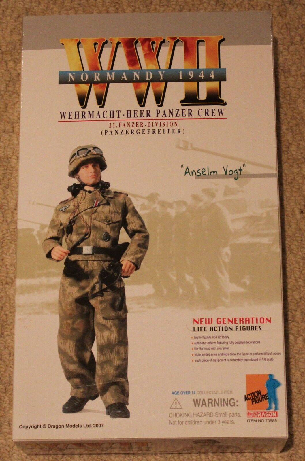 Dragon action figure 1 6 ww11 german anselm 70585 12'' boxed did cyber hot toy