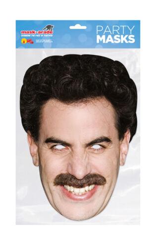 Borat Face Party Mask Card A4 Fancy Dress TV Film Ladies Men Kids Sacha
