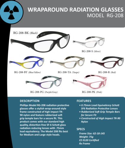 X Ray Radiation Safety Glasses Leaded Lens 62-18-145mm Gray Safety Frame