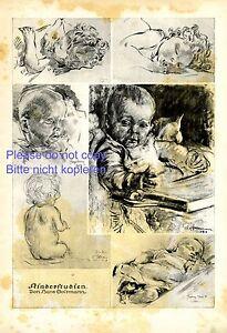 Kinderstudien XL Kunstdruck 1919 von Hans Soltmann * Breslau Kinder Baby Schlaf