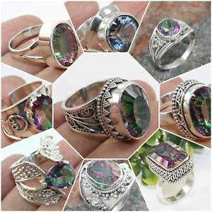 MYSTIC TOPAZ 925 SOLID STERLING SILVER HANDMADE JEWELRY RING IN ALL SHAPE /& SIZE