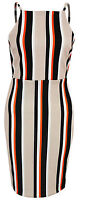 New Womens Ladies Strappy Stripe Detail Midi Bodycon Dress Size 6 8 10 12 14 UK