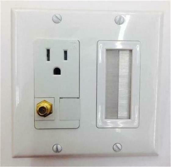 HUBBELL AC 15A 110V POWER OUTLET CAT-5E WALL PLATE HD 3DTV F-TYPE COAX TV