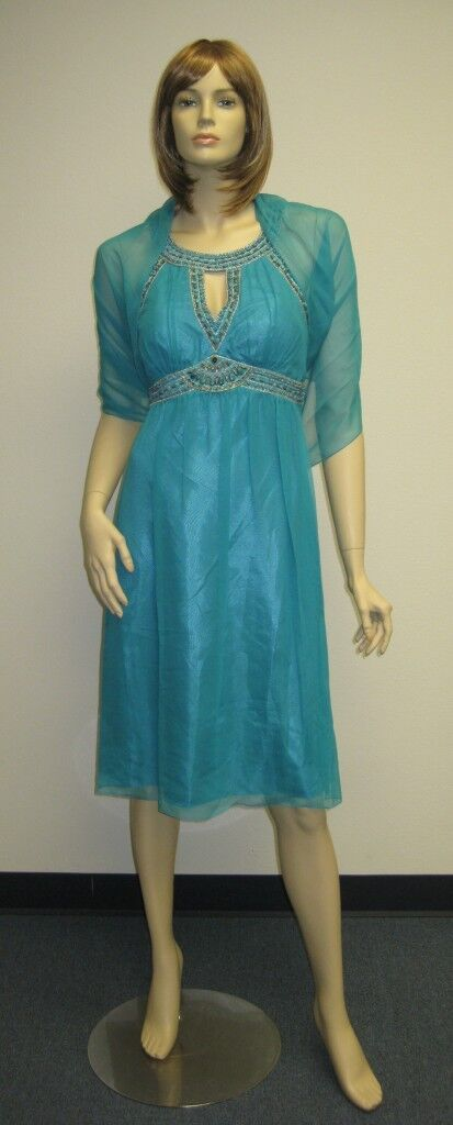 Sue Wong Dress & Shawl 6 Evening Cocktail Gown Beaded Turquoise  Blau Aqua